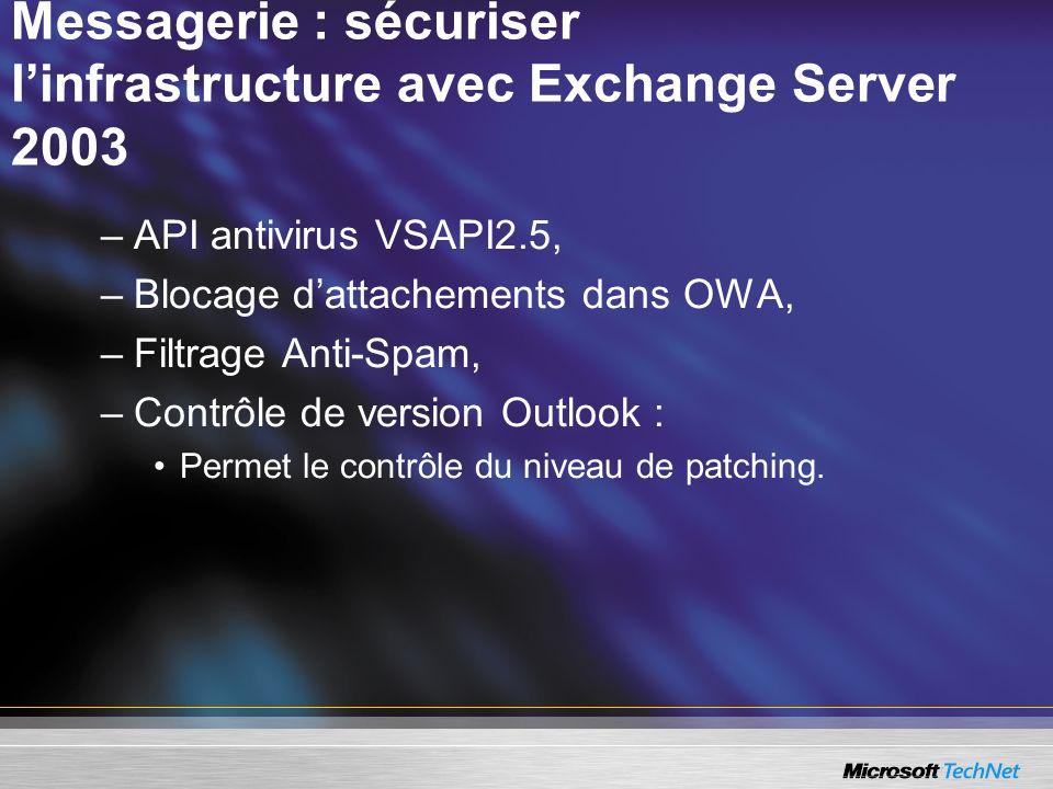 Messagerie : sécuriser linfrastructure avec Exchange Server 2003 –API antivirus VSAPI2.5, –Blocage dattachements dans OWA, –Filtrage Anti-Spam, –Contrôle de version Outlook : Permet le contrôle du niveau de patching.