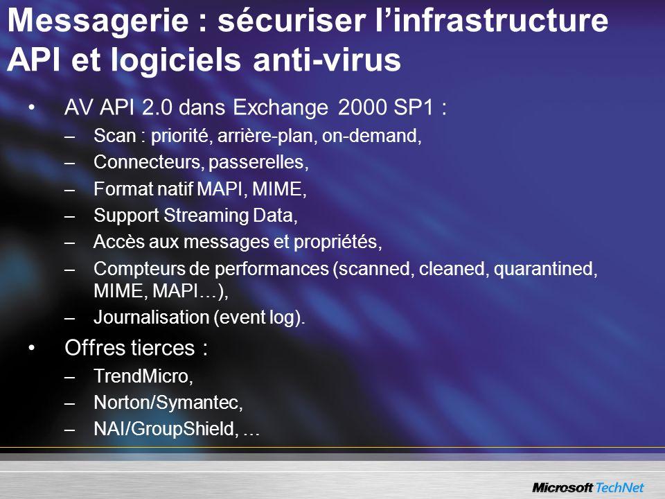 Messagerie : sécuriser linfrastructure API et logiciels anti-virus AV API 2.0 dans Exchange 2000 SP1 : –Scan : priorité, arrière-plan, on-demand, –Connecteurs, passerelles, –Format natif MAPI, MIME, –Support Streaming Data, –Accès aux messages et propriétés, –Compteurs de performances (scanned, cleaned, quarantined, MIME, MAPI…), –Journalisation (event log).