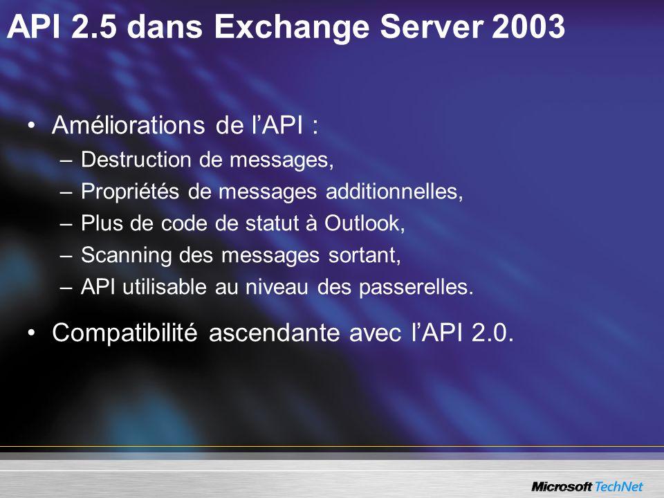 API 2.5 dans Exchange Server 2003 Améliorations de lAPI : –Destruction de messages, –Propriétés de messages additionnelles, –Plus de code de statut à Outlook, –Scanning des messages sortant, –API utilisable au niveau des passerelles.