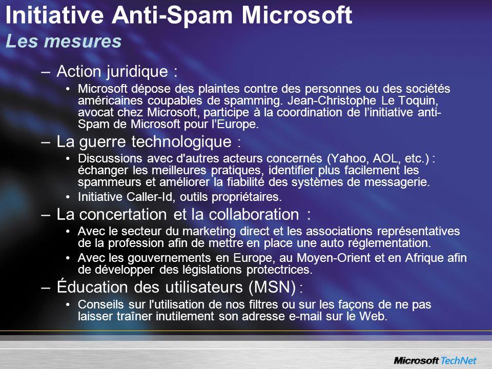 Initiative Anti-Spam Microsoft Les mesures –Action juridique : Microsoft dépose des plaintes contre des personnes ou des sociétés américaines coupables de spamming.