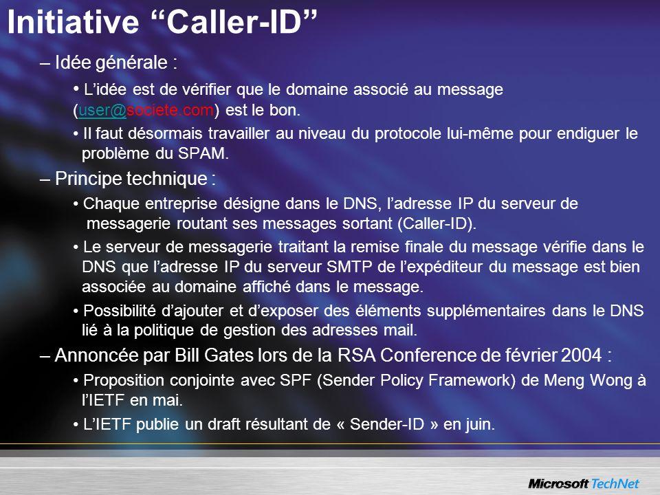 Initiative Caller-ID – Idée générale : Lidée est de vérifier que le domaine associé au message (user@societe.com) est le bon.user@ Il faut désormais travailler au niveau du protocole lui-même pour endiguer le problème du SPAM.