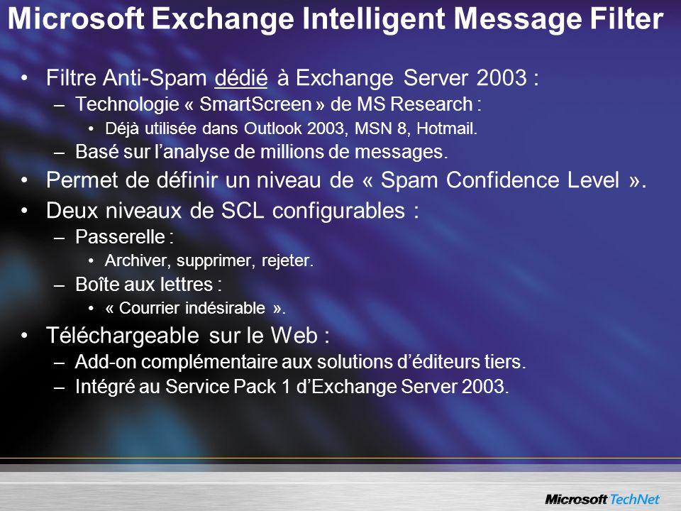 Microsoft Exchange Intelligent Message Filter Filtre Anti-Spam dédié à Exchange Server 2003 : –Technologie « SmartScreen » de MS Research : Déjà utilisée dans Outlook 2003, MSN 8, Hotmail.