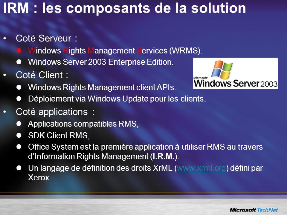 Coté Serveur : Windows Rights Management Services (WRMS). Windows Server 2003 Enterprise Edition. Coté Client : Windows Rights Management client APIs.