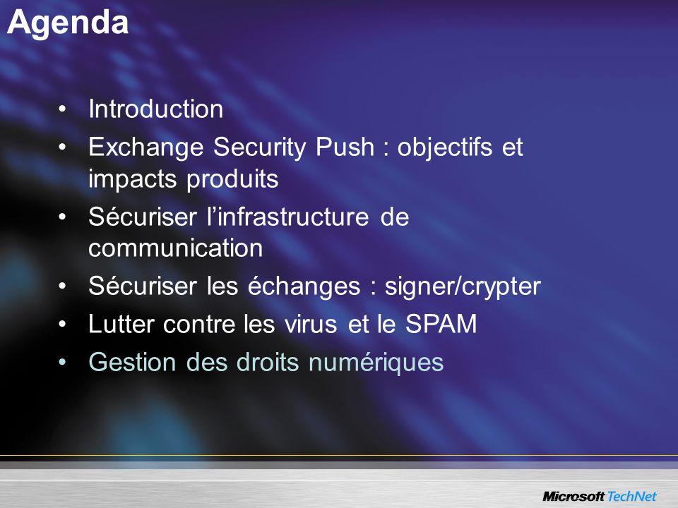 Agenda Introduction Exchange Security Push : objectifs et impacts produits Sécuriser linfrastructure de communication Sécuriser les échanges : signer/crypter Lutter contre les virus et le SPAM Gestion des droits numériques