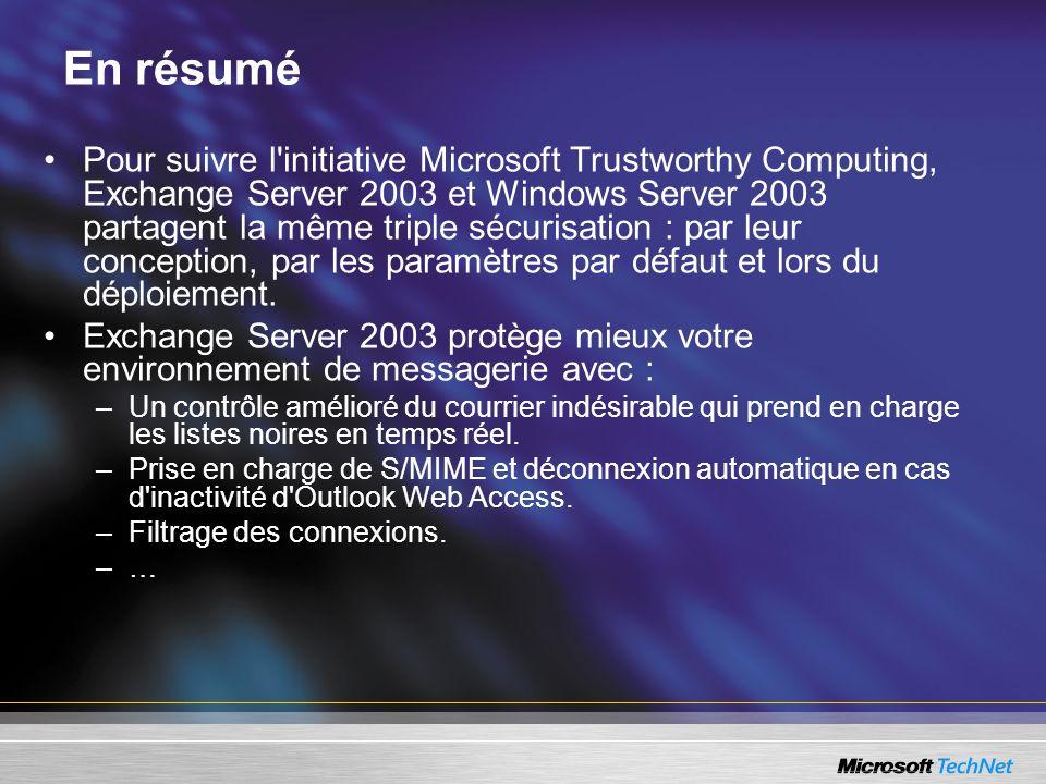 En résumé Pour suivre l initiative Microsoft Trustworthy Computing, Exchange Server 2003 et Windows Server 2003 partagent la même triple sécurisation : par leur conception, par les paramètres par défaut et lors du déploiement.