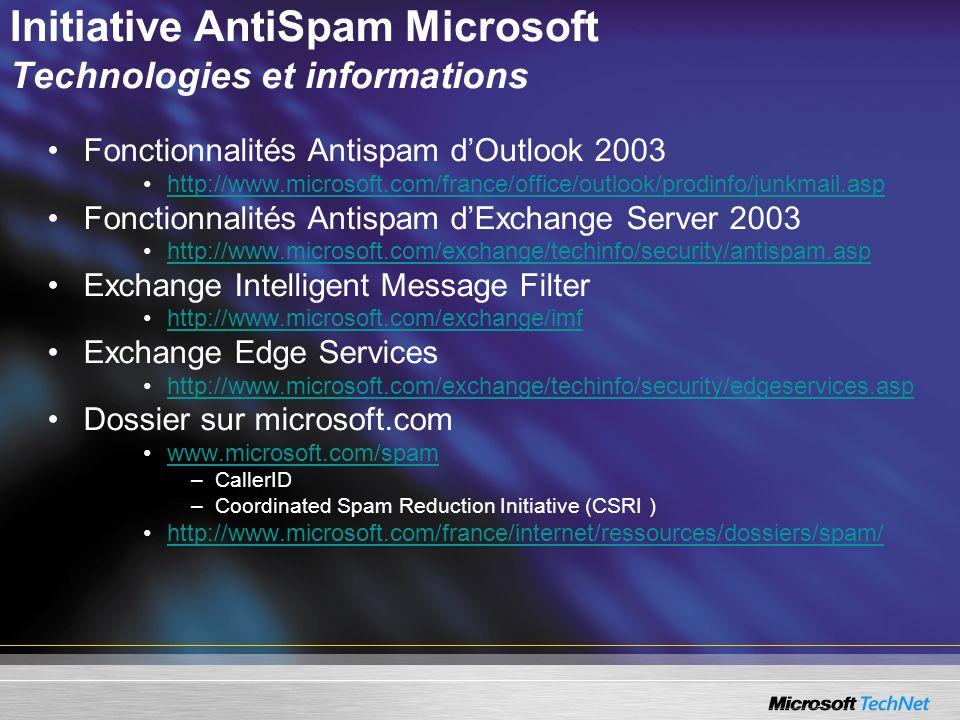 Initiative AntiSpam Microsoft Technologies et informations Fonctionnalités Antispam dOutlook 2003 http://www.microsoft.com/france/office/outlook/prodinfo/junkmail.asp Fonctionnalités Antispam dExchange Server 2003 http://www.microsoft.com/exchange/techinfo/security/antispam.asp Exchange Intelligent Message Filter http://www.microsoft.com/exchange/imf Exchange Edge Services http://www.microsoft.com/exchange/techinfo/security/edgeservices.asp Dossier sur microsoft.com www.microsoft.com/spam –CallerID –Coordinated Spam Reduction Initiative (CSRI ) http://www.microsoft.com/france/internet/ressources/dossiers/spam/