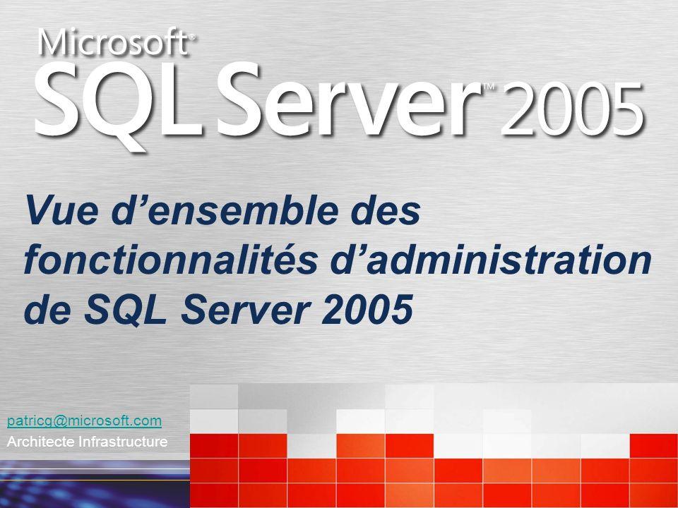Vue densemble des fonctionnalités dadministration de SQL Server 2005 patricg@microsoft.com Architecte Infrastructure