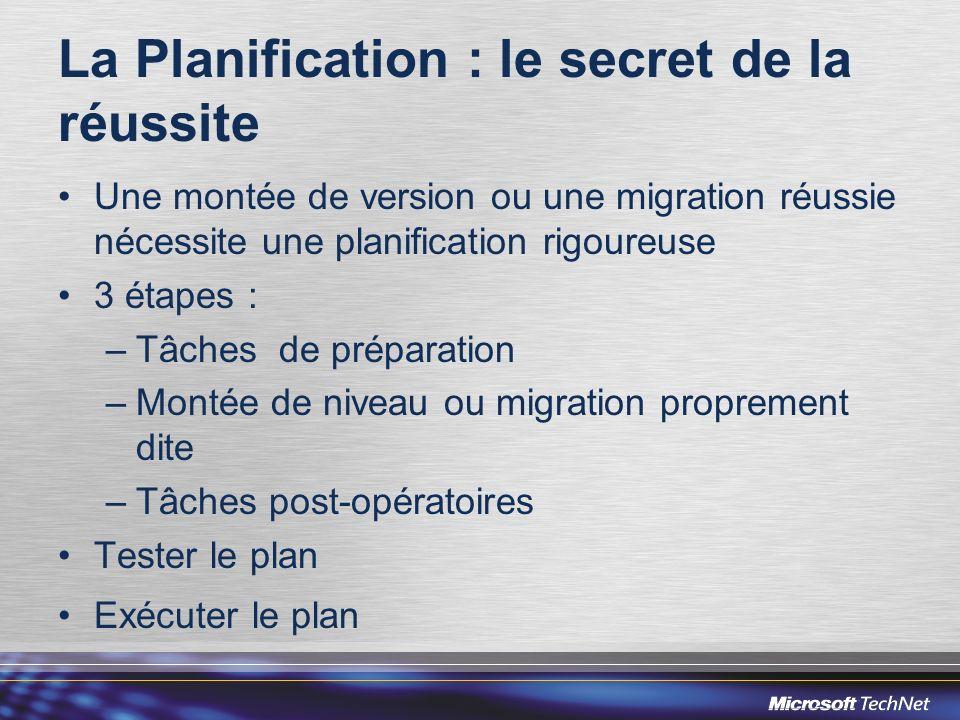 La Planification : le secret de la réussite Une montée de version ou une migration réussie nécessite une planification rigoureuse 3 étapes : –Tâches d