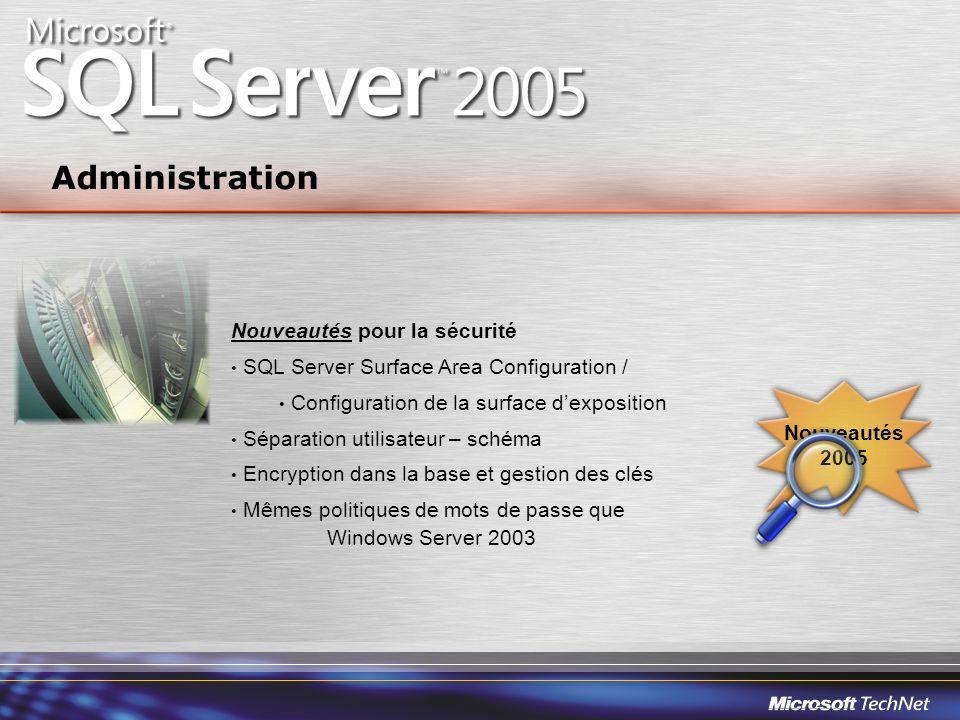 Nouveautés pour la sécurité SQL Server Surface Area Configuration / Configuration de la surface dexposition Séparation utilisateur – schéma Encryption