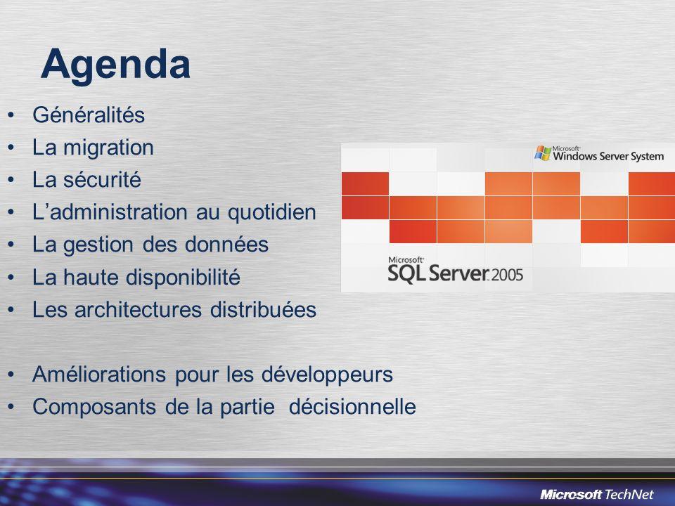 Valeur de loffre Gestion automatique Performance et Sécurité Intégration du Décisionnel Objectifs long terme : SQL Server 6.0/6.5 Différentiation de Sybase SQL Server Différentiation de Sybase SQL Server Intégration à Windows Intégration à Windows Intégration de la Réplication Intégration de la Réplication 1 ere Génération SQL Server 7.0 SQL Server 2000 Performance, montée en charge Performance, montée en charge Support du XML Support du XML Intégration des services de Notification, de Reporting et de Data Mining Intégration des services de Notification, de Reporting et de Data Mining Réécriture du moteur relationnel Réécriture du moteur relationnel Gestion automatisée des ressources Gestion automatisée des ressources Intégration des services OLAP et ETL Intégration des services OLAP et ETL 2 ème Génération SQL Server 2005 Haute disponibilité Haute disponibilité Sécurité Sécurité Intégration CLR Intégration CLR XML Natif XML Natif Nouveau moteur ETL dentreprise Nouveau moteur ETL dentreprise 64 bits IA-32 et x64 64 bits IA-32 et x64 3 ème Génération Une version majeure