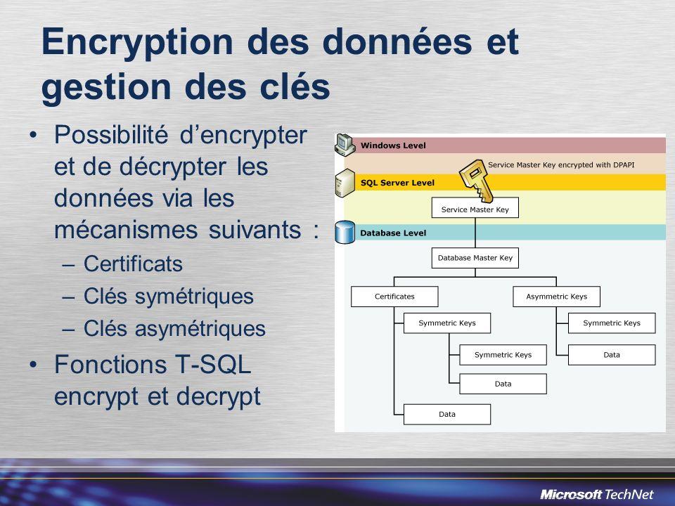Encryption des données et gestion des clés Possibilité dencrypter et de décrypter les données via les mécanismes suivants : –Certificats –Clés symétri
