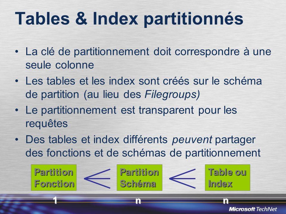 Tables & Index partitionnés La clé de partitionnement doit correspondre à une seule colonne Les tables et les index sont créés sur le schéma de partit