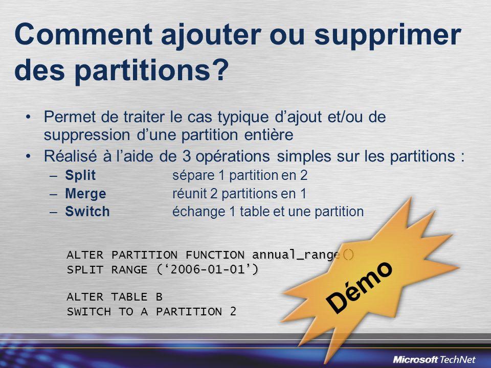 Comment ajouter ou supprimer des partitions? Permet de traiter le cas typique dajout et/ou de suppression dune partition entière Réalisé à laide de 3
