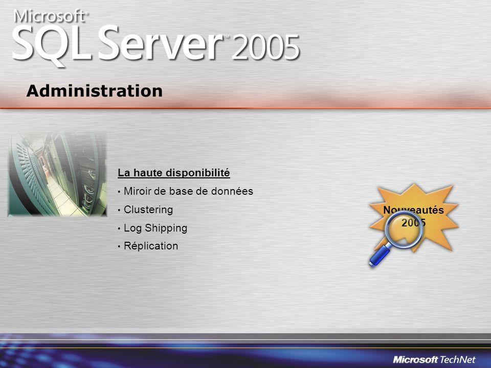 La haute disponibilité Miroir de base de données Clustering Log Shipping Réplication Administration Nouveautés 2005