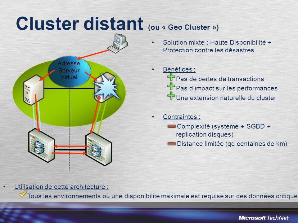Cluster distant (ou « Geo Cluster ») Solution mixte : Haute Disponibilité + Protection contre les désastres Bénéfices : Pas de pertes de transactions