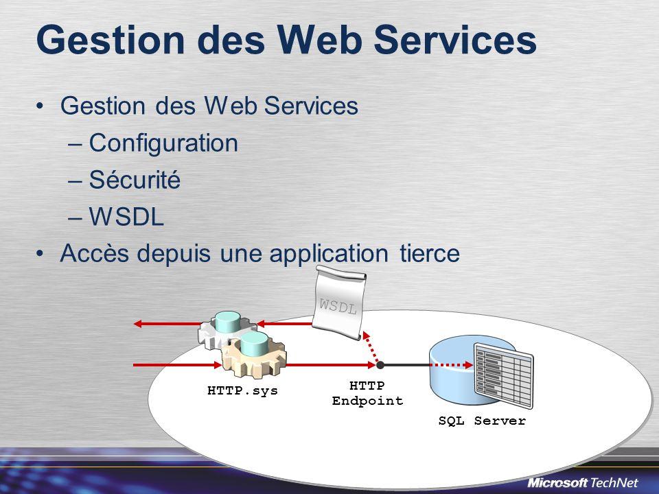 Gestion des Web Services –Configuration –Sécurité –WSDL Accès depuis une application tierce HTTP Endpoint HTTP.sys SQL Server WSDL