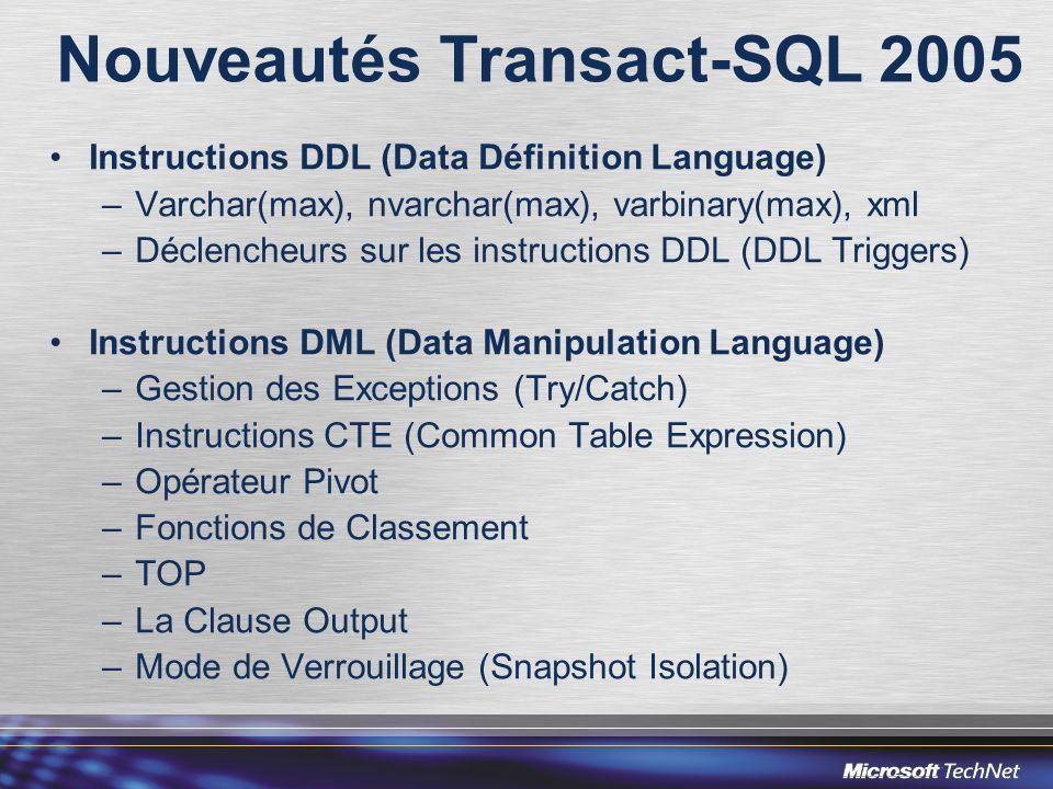 Nouveautés Transact-SQL 2005 Instructions DDL (Data Définition Language) –Varchar(max), nvarchar(max), varbinary(max), xml –Déclencheurs sur les instr