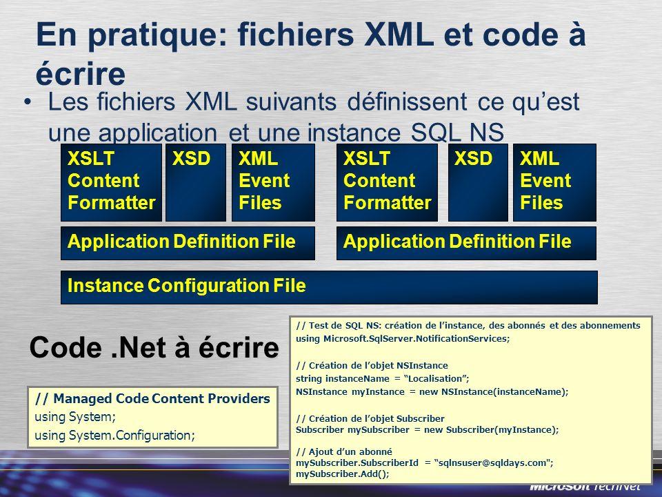 En pratique: fichiers XML et code à écrire Les fichiers XML suivants définissent ce quest une application et une instance SQL NS Instance Configuratio