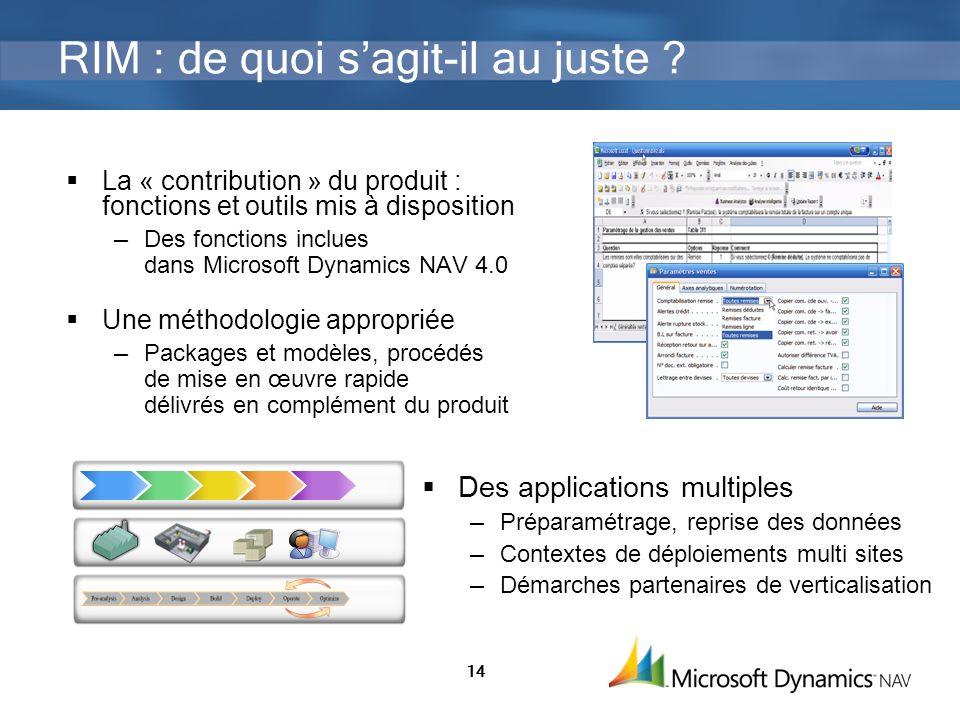 14 RIM : de quoi sagit-il au juste ? La « contribution » du produit : fonctions et outils mis à disposition Des fonctions inclues dans Microsoft Dynam