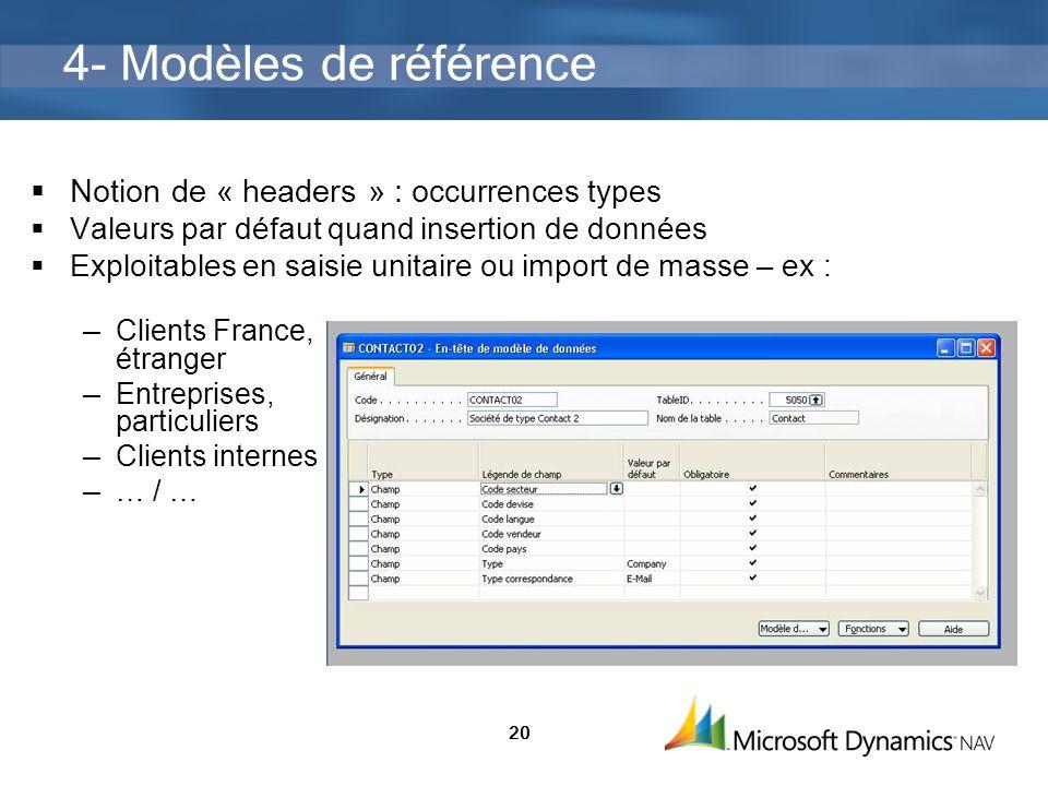 20 4- Modèles de référence Notion de « headers » : o ccurrences types Valeurs par défaut quand insertion de données Exploitables en saisie unitaire ou