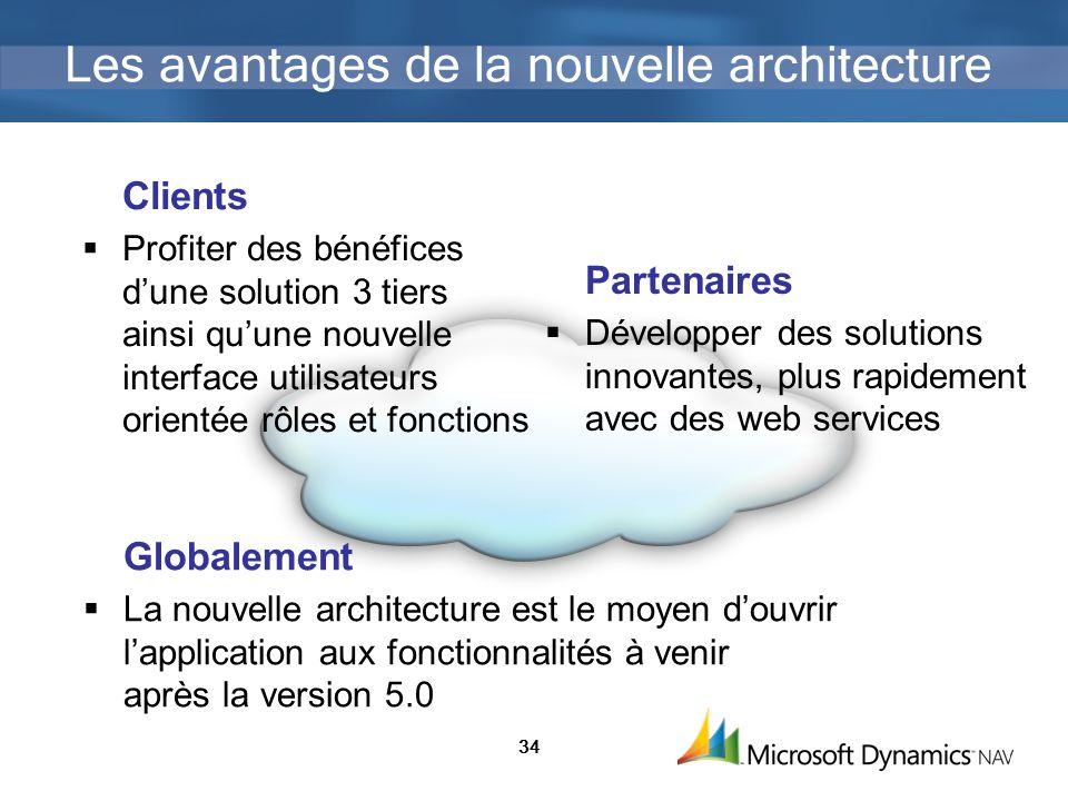 34 Les avantages de la nouvelle architecture Clients Profiter des bénéfices dune solution 3 tiers ainsi quune nouvelle interface utilisateurs orientée