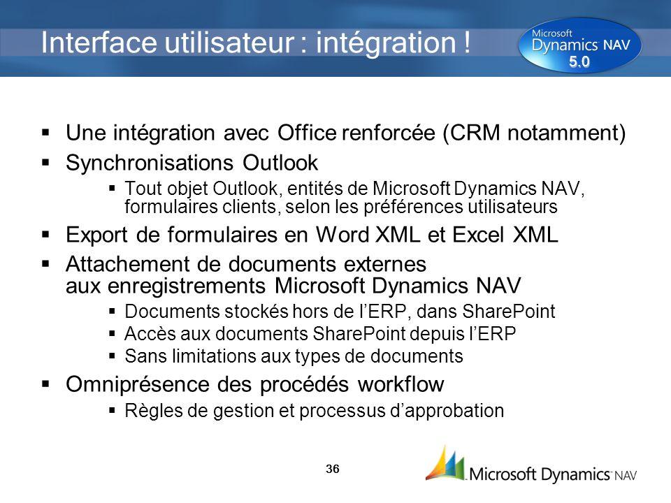 36 Interface utilisateur : intégration ! Une intégration avec Office renforcée (CRM notamment) Synchronisations Outlook Tout objet Outlook, entités de