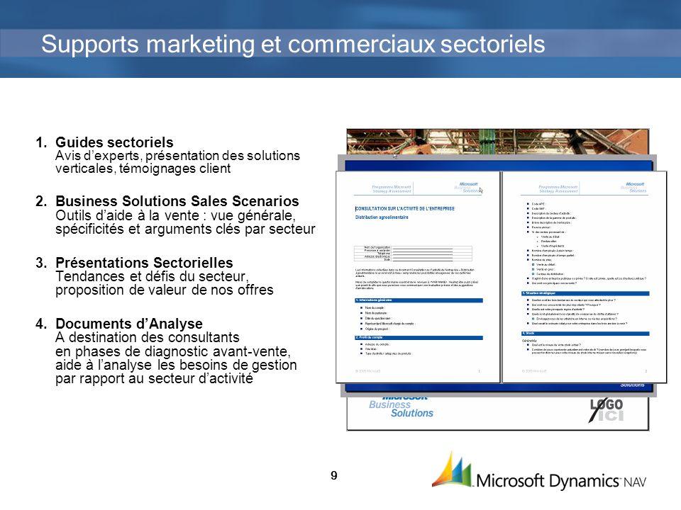 9 Supports marketing et commerciaux sectoriels 1.Guides sectoriels Avis dexperts, présentation des solutions verticales, témoignages client 2.Business
