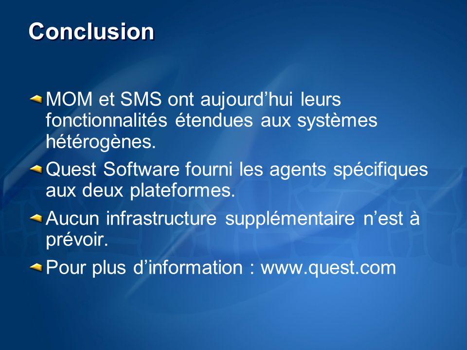 Conclusion MOM et SMS ont aujourdhui leurs fonctionnalités étendues aux systèmes hétérogènes.