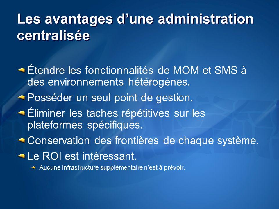 Les avantages dune administration centralisée Étendre les fonctionnalités de MOM et SMS à des environnements hétérogènes.