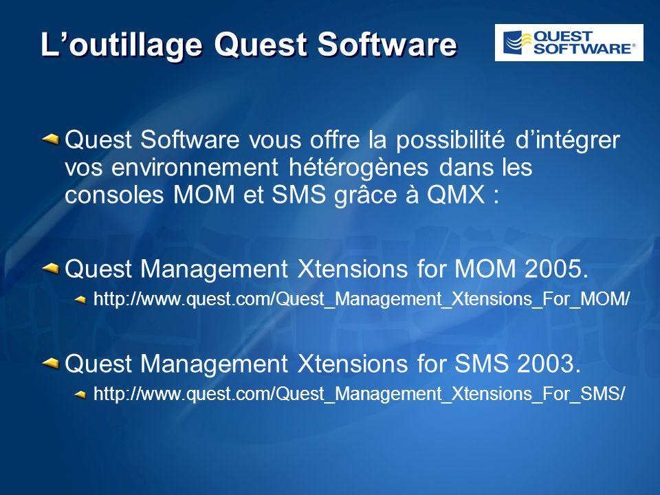 Loutillage Quest Software Quest Software vous offre la possibilité dintégrer vos environnement hétérogènes dans les consoles MOM et SMS grâce à QMX : Quest Management Xtensions for MOM 2005.