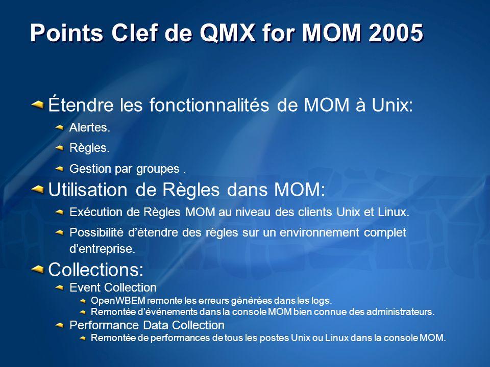 Points Clef de QMX for MOM 2005 Étendre les fonctionnalités de MOM à Unix: Alertes.