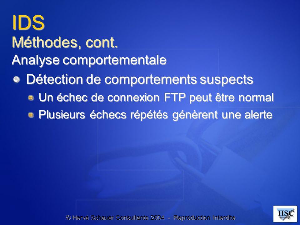 © Hervé Schauer Consultants 2004 - Reproduction Interdite IDS Méthodes, cont. Analyse comportementale Détection de comportements suspects Un échec de