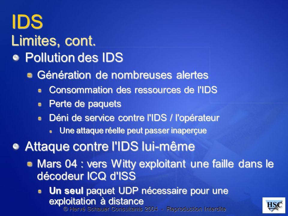 © Hervé Schauer Consultants 2004 - Reproduction Interdite IDS Limites, cont. Pollution des IDS Génération de nombreuses alertes Consommation des resso