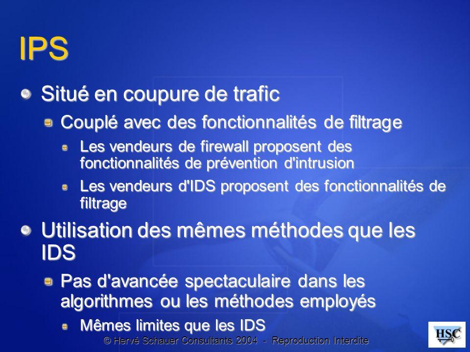 © Hervé Schauer Consultants 2004 - Reproduction Interdite IPS Situé en coupure de trafic Couplé avec des fonctionnalités de filtrage Les vendeurs de f