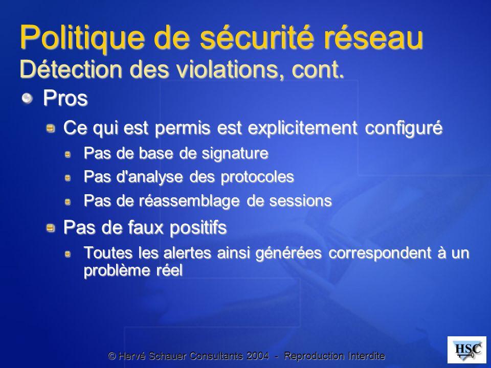 © Hervé Schauer Consultants 2004 - Reproduction Interdite Politique de sécurité réseau Détection des violations, cont. Pros Ce qui est permis est expl