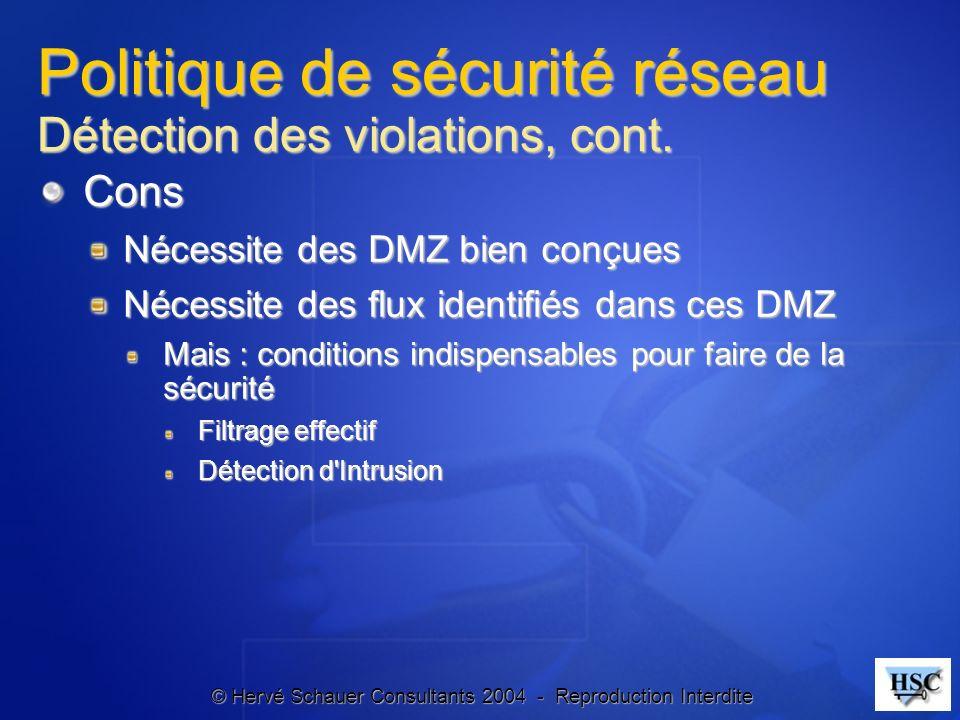 © Hervé Schauer Consultants 2004 - Reproduction Interdite Politique de sécurité réseau Détection des violations, cont. Cons Nécessite des DMZ bien con