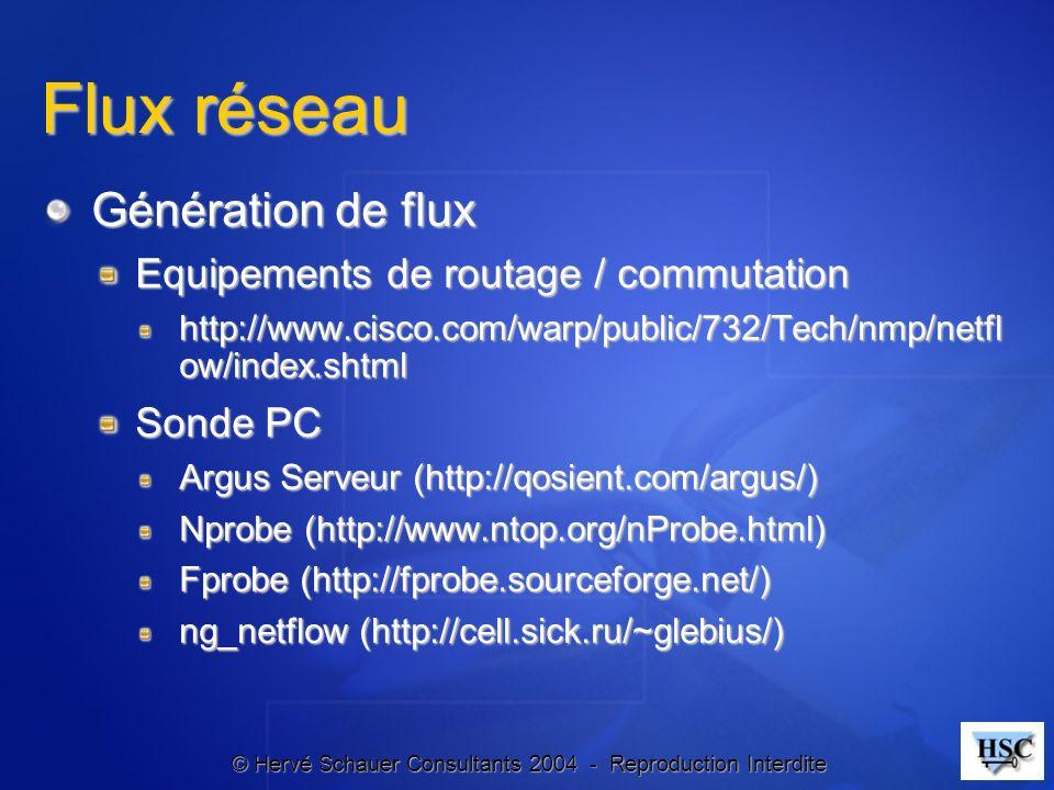 © Hervé Schauer Consultants 2004 - Reproduction Interdite Flux réseau Génération de flux Equipements de routage / commutation http://www.cisco.com/war