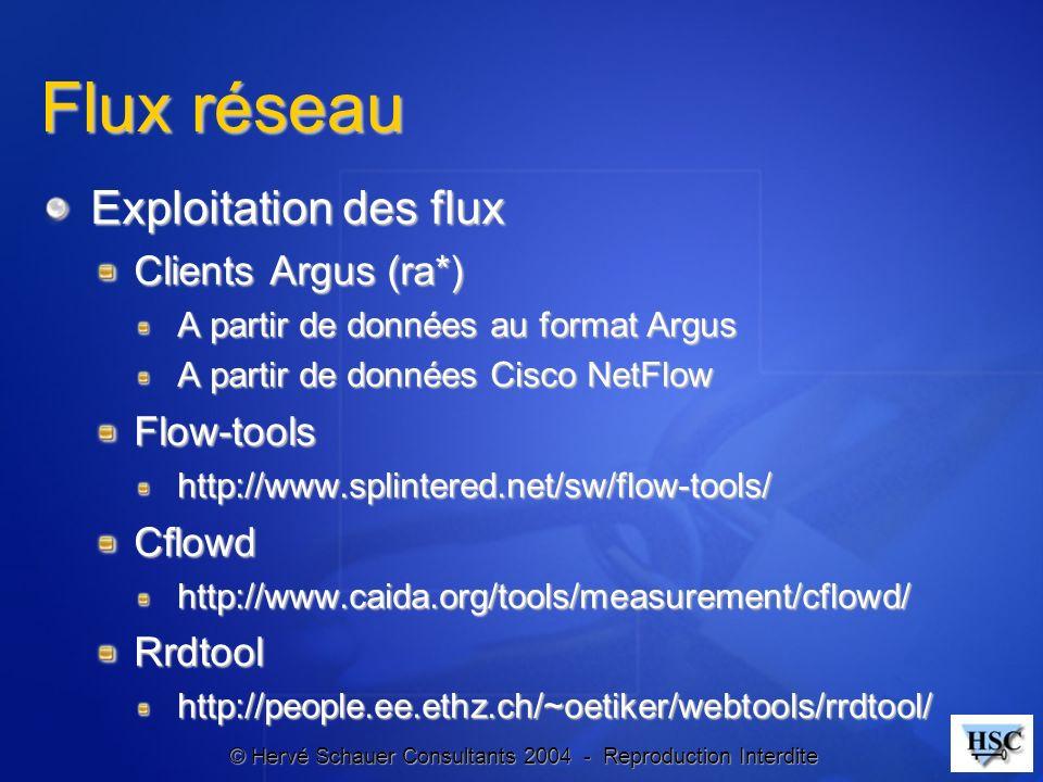 © Hervé Schauer Consultants 2004 - Reproduction Interdite Flux réseau Exploitation des flux Clients Argus (ra*) A partir de données au format Argus A