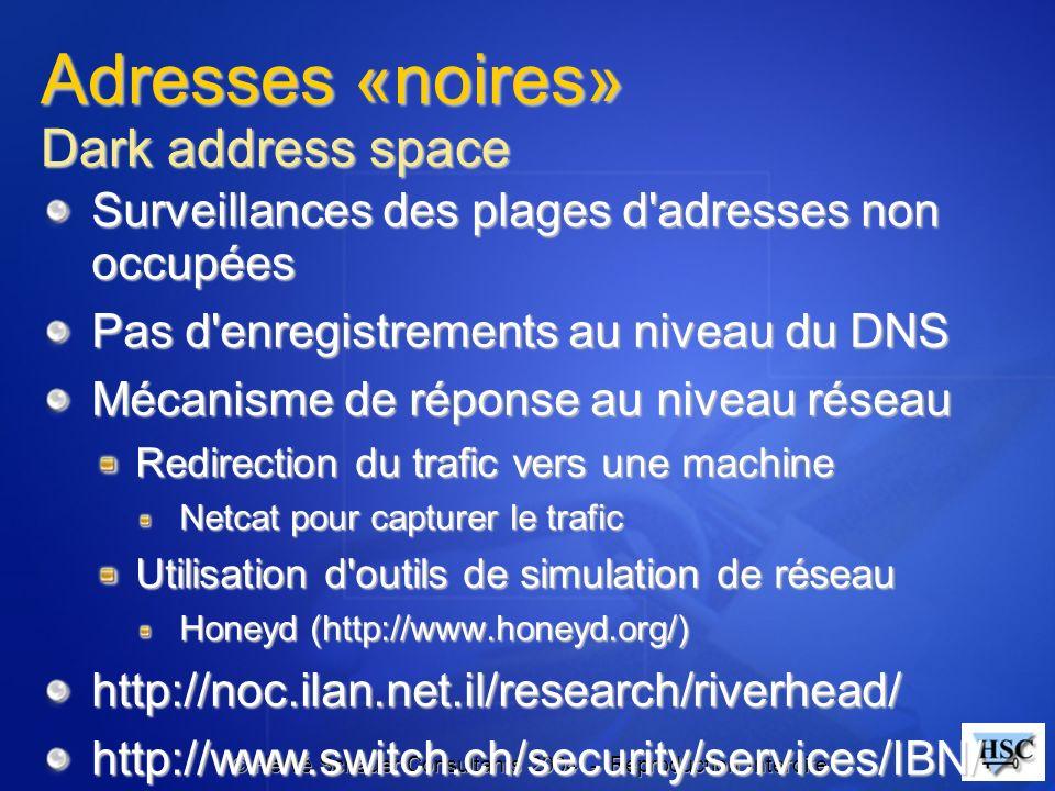 © Hervé Schauer Consultants 2004 - Reproduction Interdite Adresses «noires» Dark address space Surveillances des plages d'adresses non occupées Pas d'