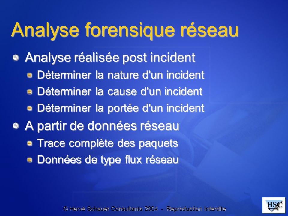 © Hervé Schauer Consultants 2004 - Reproduction Interdite Analyse forensique réseau Analyse réalisée post incident Déterminer la nature d'un incident