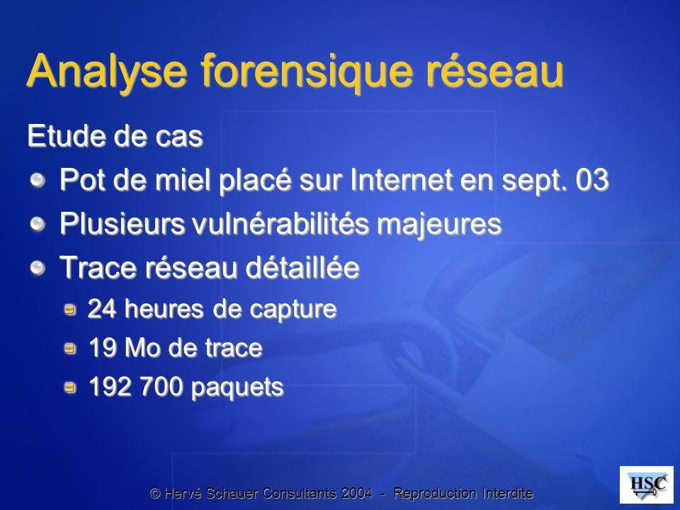 © Hervé Schauer Consultants 2004 - Reproduction Interdite Analyse forensique réseau Etude de cas Pot de miel placé sur Internet en sept. 03 Plusieurs