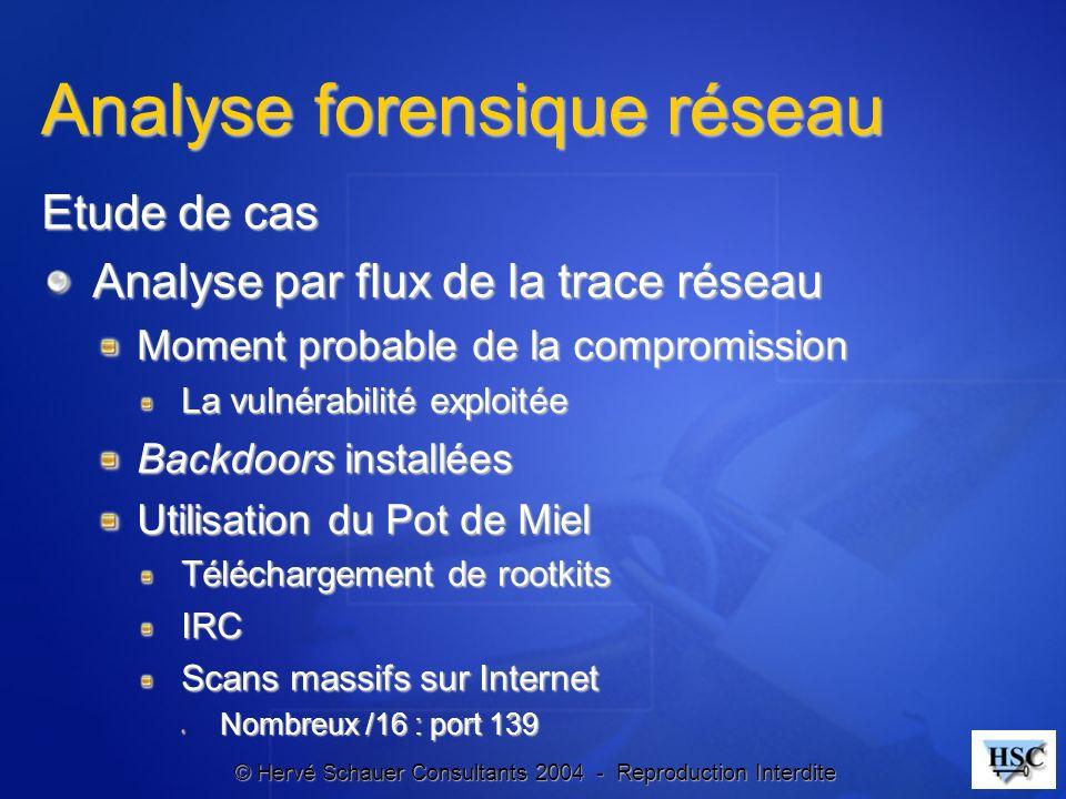© Hervé Schauer Consultants 2004 - Reproduction Interdite Analyse forensique réseau Etude de cas Analyse par flux de la trace réseau Moment probable d
