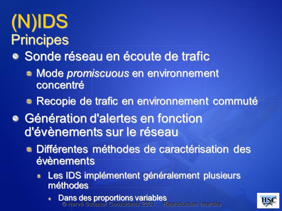 © Hervé Schauer Consultants 2004 - Reproduction Interdite (N)IDS Principes Sonde réseau en écoute de trafic Mode promiscuous en environnement concentr