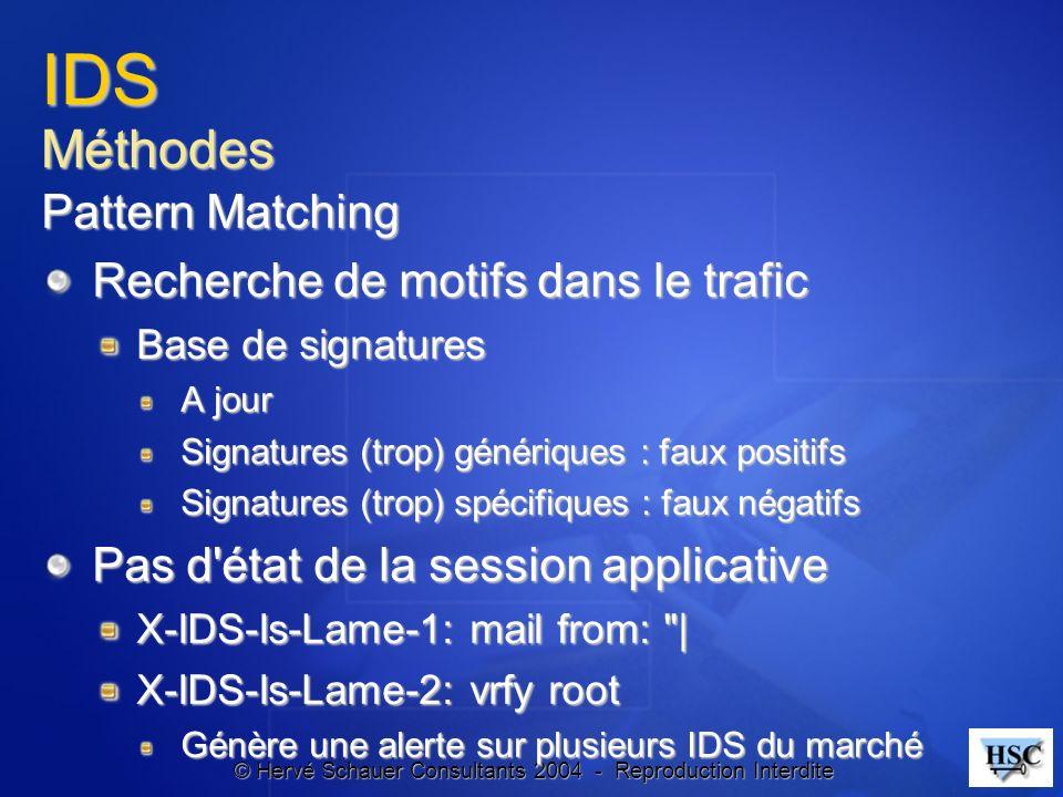 © Hervé Schauer Consultants 2004 - Reproduction Interdite IDS Méthodes Pattern Matching Recherche de motifs dans le trafic Base de signatures A jour S