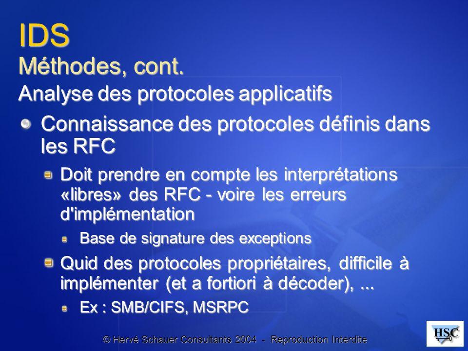 © Hervé Schauer Consultants 2004 - Reproduction Interdite IDS Méthodes, cont. Analyse des protocoles applicatifs Connaissance des protocoles définis d