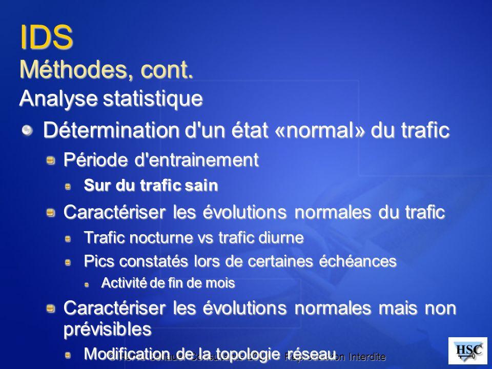 © Hervé Schauer Consultants 2004 - Reproduction Interdite IDS Méthodes, cont. Analyse statistique Détermination d'un état «normal» du trafic Période d