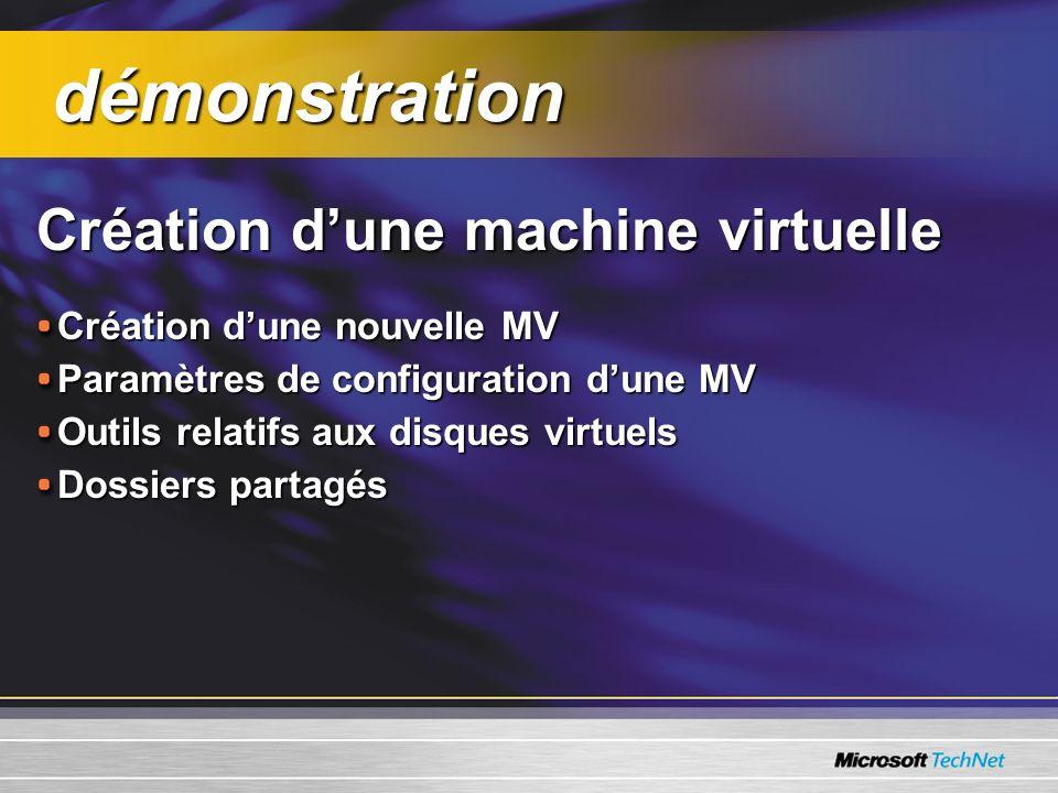 Création dune machine virtuelle Création dune nouvelle MV Paramètres de configuration dune MV Outils relatifs aux disques virtuels Dossiers partagés démonstration démonstration