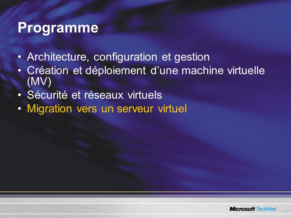 Programme Architecture, configuration et gestion Création et déploiement dune machine virtuelle (MV) Sécurité et réseaux virtuels Migration vers un serveur virtuel