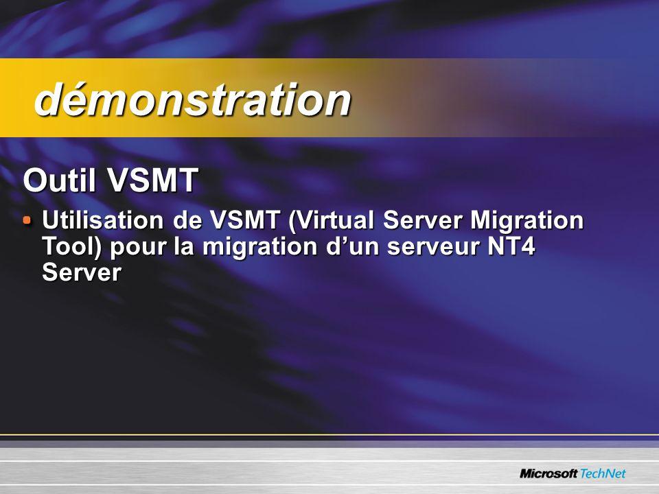 Outil VSMT Utilisation de VSMT (Virtual Server Migration Tool) pour la migration dun serveur NT4 Server démonstration démonstration
