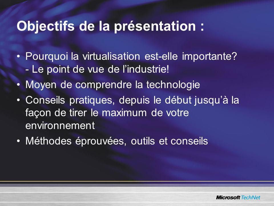 Objectifs de la présentation : Pourquoi la virtualisation est-elle importante.